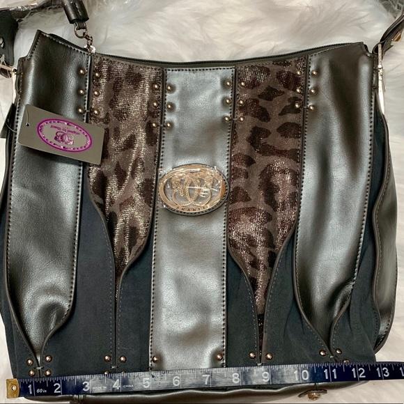 Sharif Handbags - SHARIF GRAY& ANIMAL PRINT LEATHER HANDBAG NWT